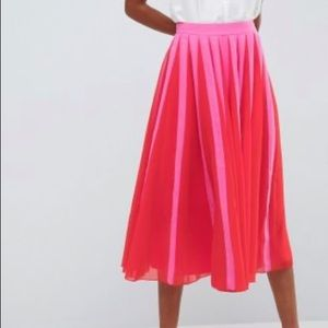ASOS Pleated Midi Skirt w/Colorblock Stripe, NWT